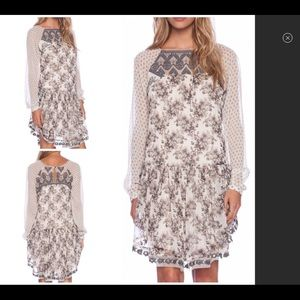 Free People Grey Floral Dress Med